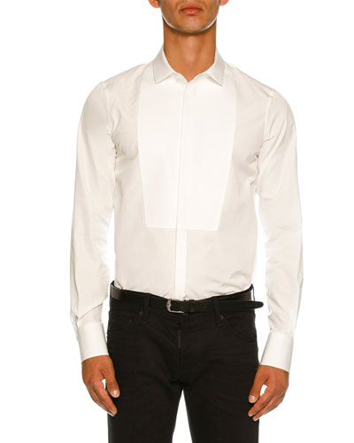 Round-Bib Slim-Fit Tuxedo Shirt