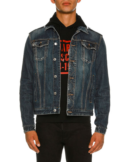 Dsquared2 Dan Denim Jacked with Striped Trim