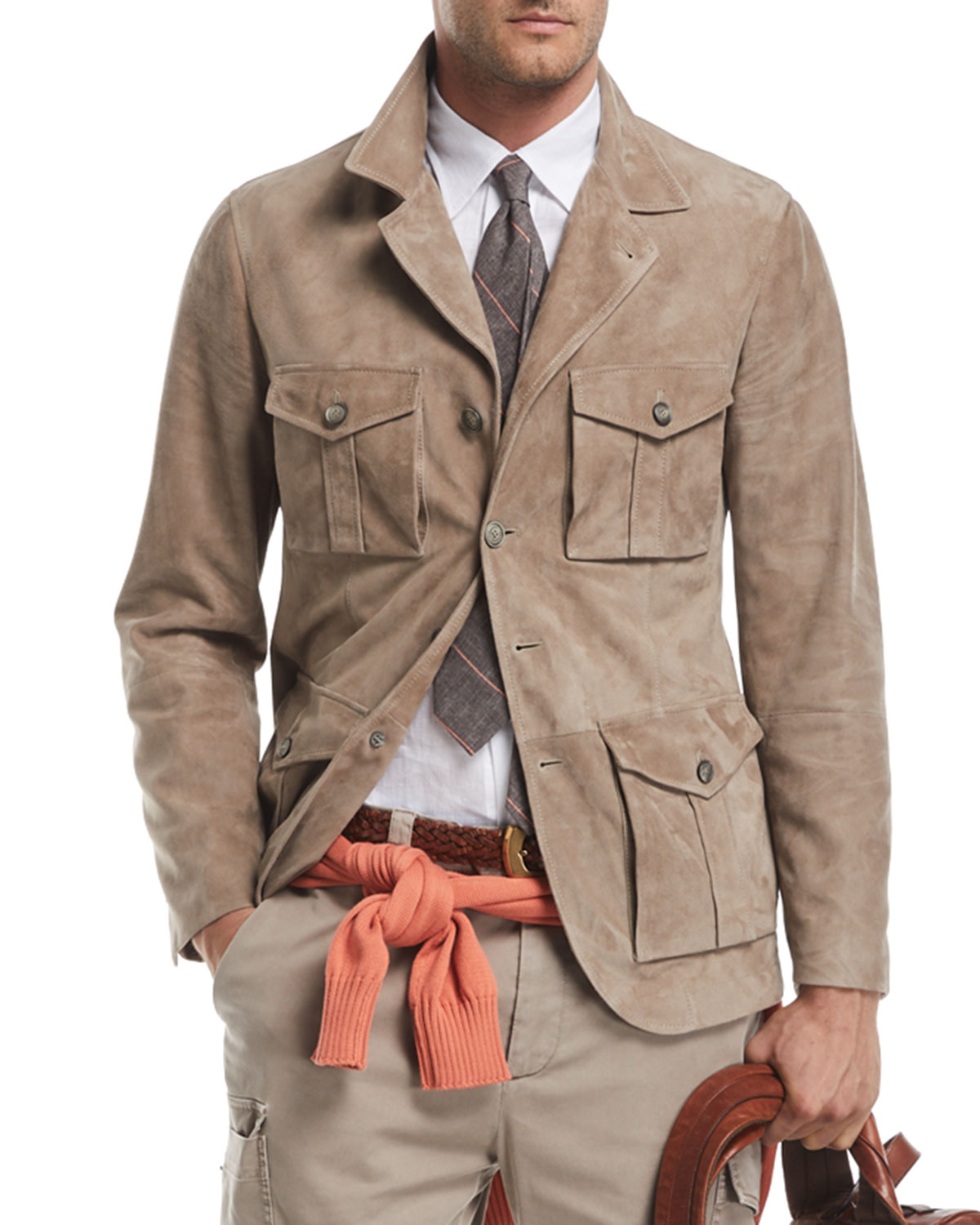 Brunello Cucinelli Suede Safari Jacket With Roll Tab Sleeves
