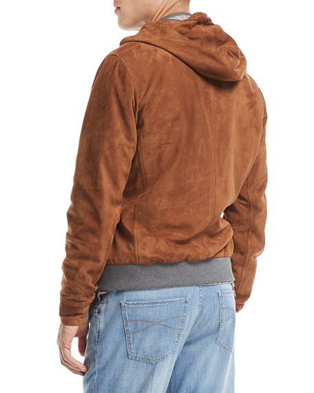 Two-Way Zip Suede Hoodie