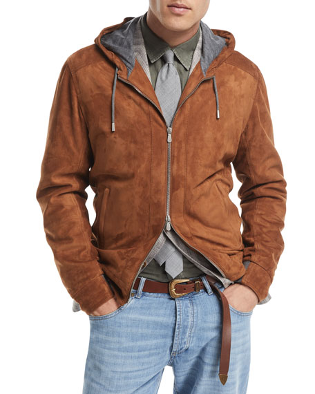 Brunello Cucinelli Two-Way Zip Suede Hoodie and Matching