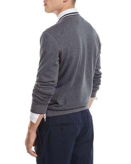 Contrast-Trim Crewneck Sweater