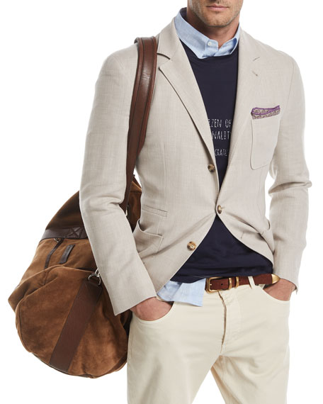 Brunello Cucinelli Three-Button Wool-Blend Sport Jacket
