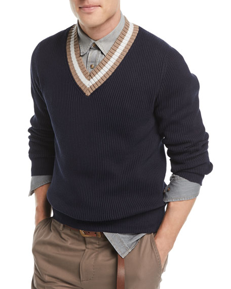 Brunello Cucinelli Ribbed V-Neck Sweater