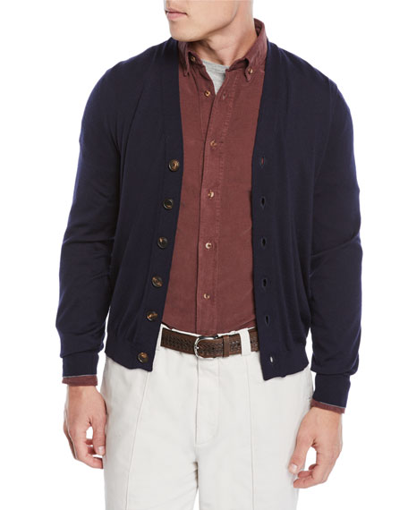 Cashmere-Blend Button-Front Cardigan