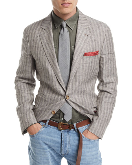 Brunello Cucinelli Melange Striped Linen Sport Jacket