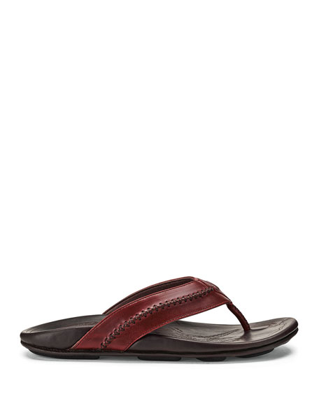 Mea Ola Leather Thong Sandal, Brown/Red