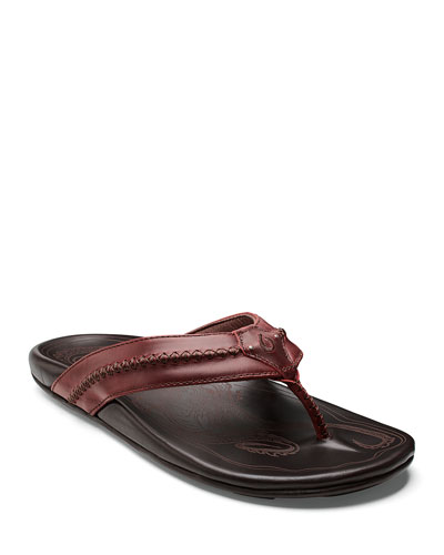 Men's Mea Ola Leather Thong Sandals, Brown/Red