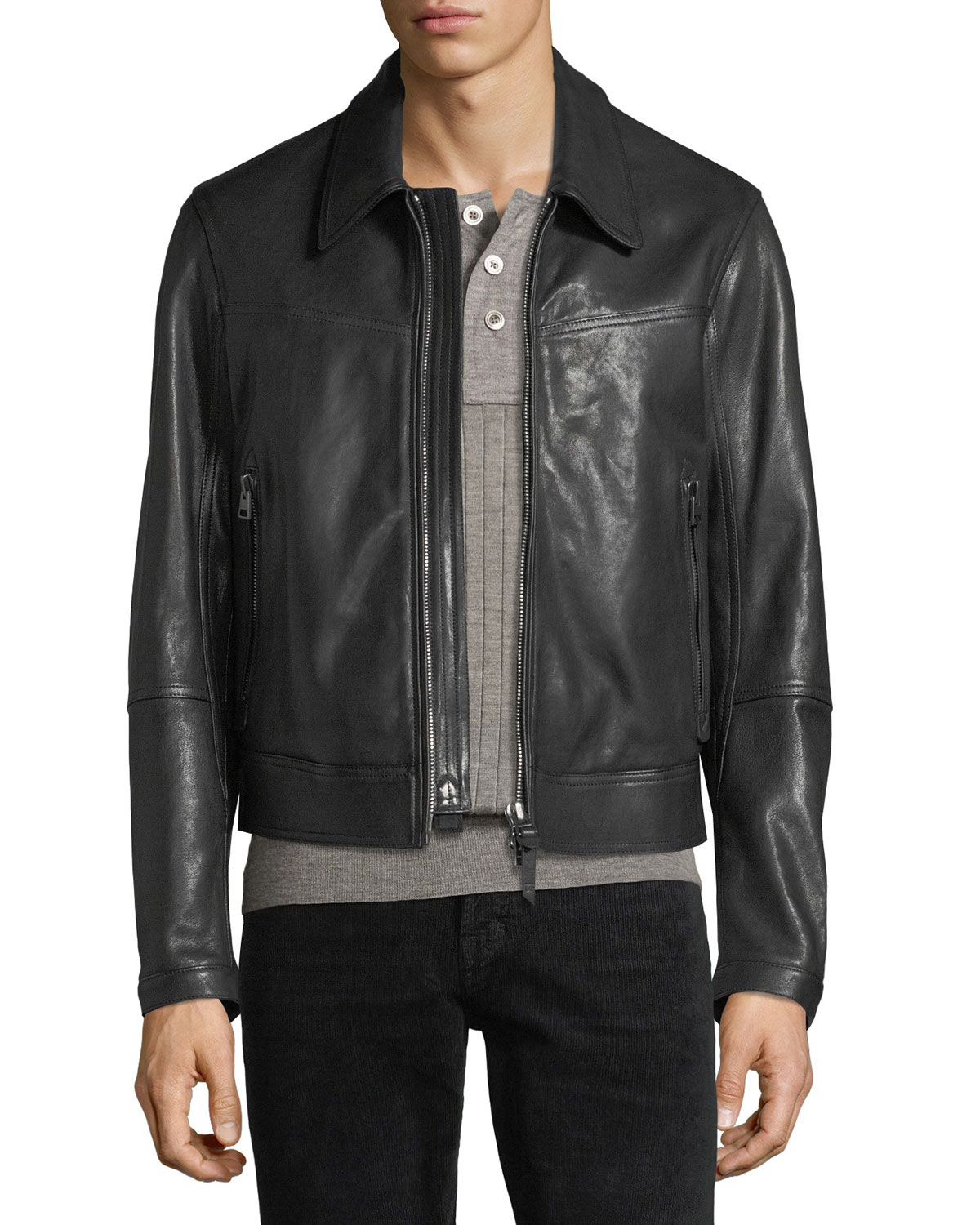 d278e8e908d5 TOM FORD Worked Leather Zip-Front Jacket | Neiman Marcus