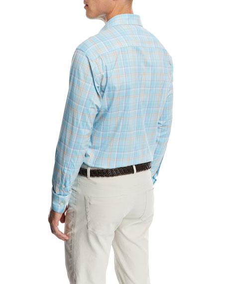 Wallace Performance Plaid Shirt, Light Blue