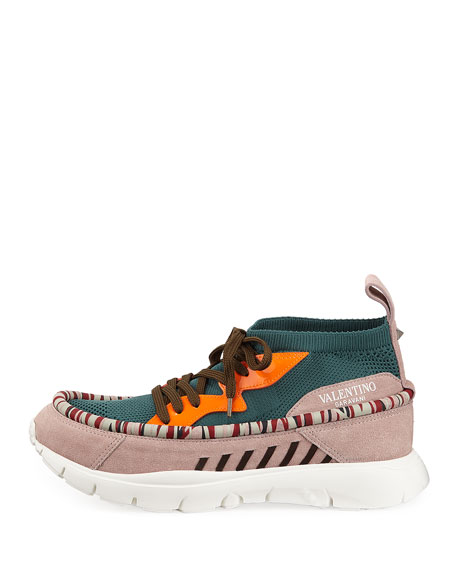 Men's Sock-Knit Lace-Up Caged Sneaker