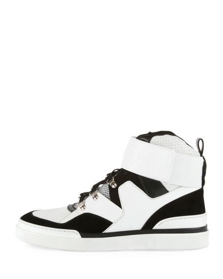 Balmain Men's Two-Tone High-Top Sneakers