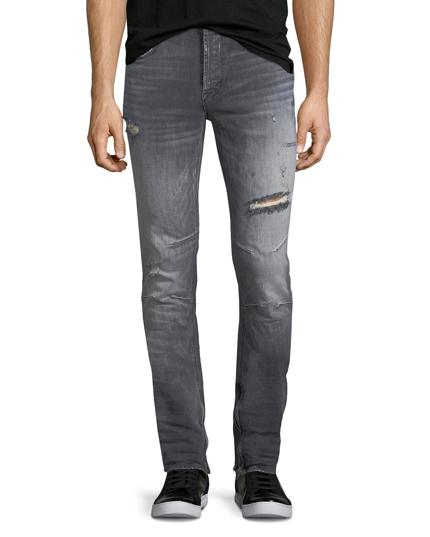 f65b0c1b Hudson Men's Vaughn Skinny Ankle-Zip Distressed Jeans   Neiman Marcus