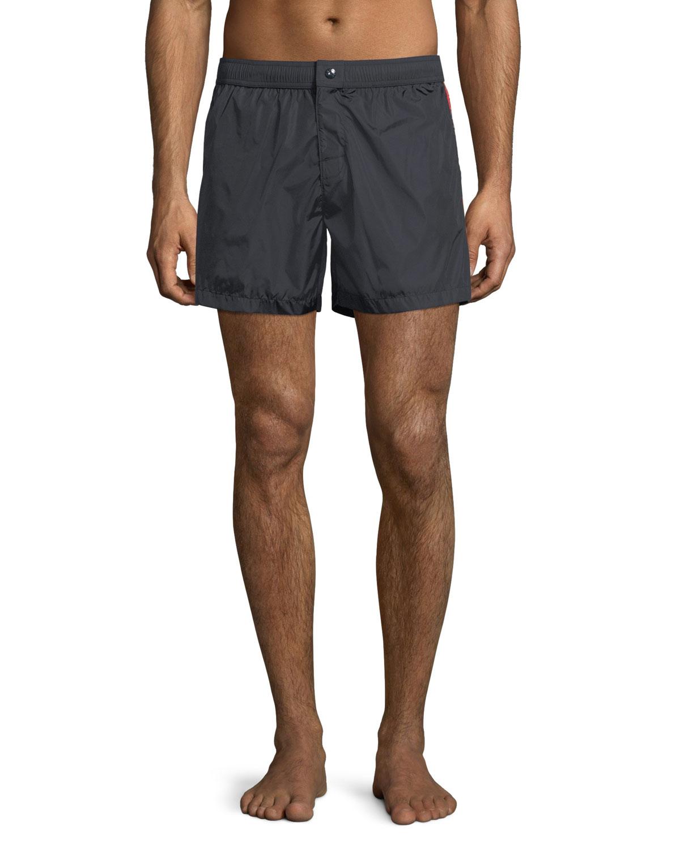 a307e2670e Moncler Swim Trunks w/ Logo Taping Sides, Navy   Neiman Marcus