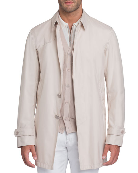 Stefano Ricci Button-Front Silk Trench Coat