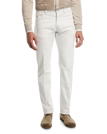 Stefano Ricci Tonal-Embroidered Denim Jeans