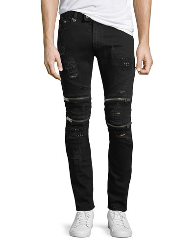 Distressed Motorcycle Jeans, Black