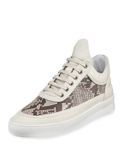 Men's Ripple Python-Trim Low-Top Sneakers