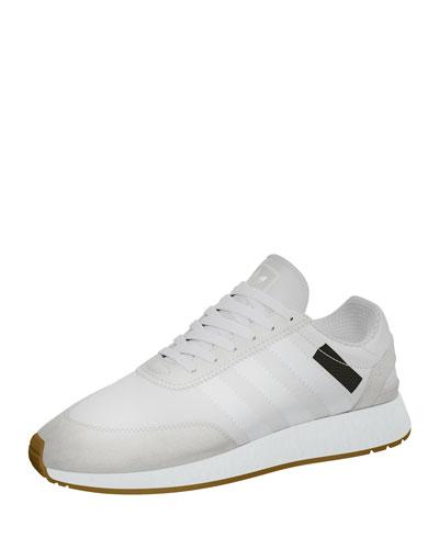 Suede-Trim Neoprene Sneaker, White