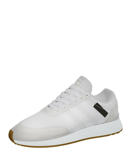 Men's Suede-Trim Neoprene Sneaker, White
