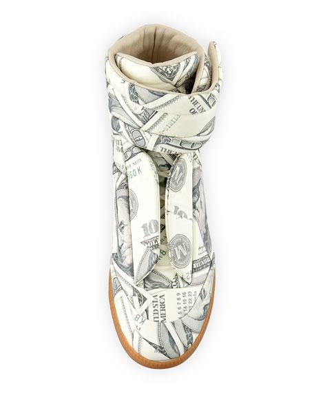 Future Money High-Top Grip Sneaker, Green Pattern