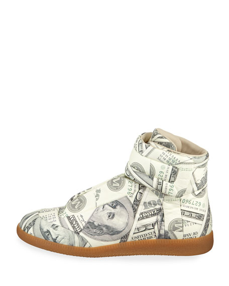 Men's Future Money High-Top Grip Sneakers, Green Pattern