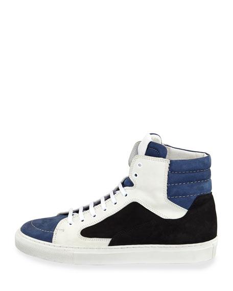 Men's Artel Leather High-Top Sneakers, Black/Blue