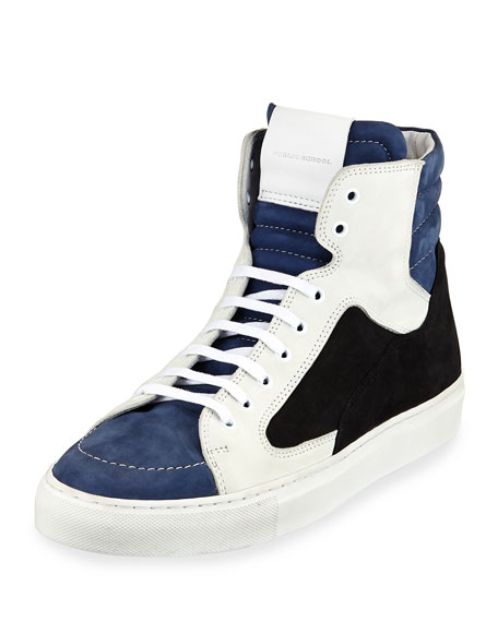 Public School Artel Leather High-Top Sneaker, Black/Blue and