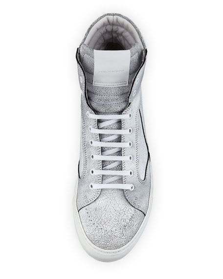 Men's Artel Cracked Leather High-Top Sneakers