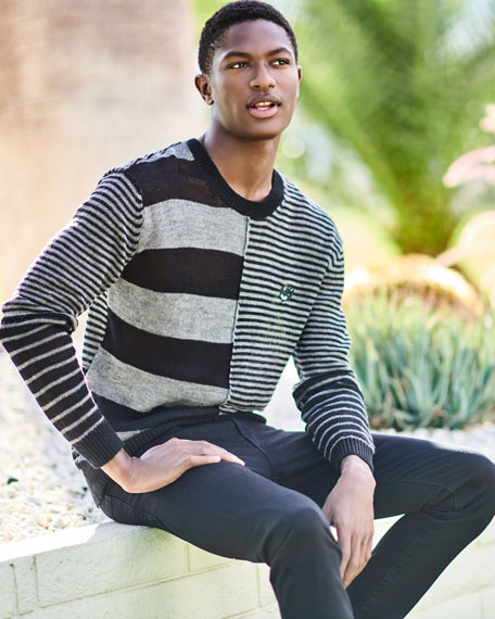 Patched-Stripe Linen Sweater