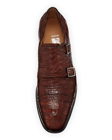 Men's Tramezza Crocodile Double-Monk Shoe