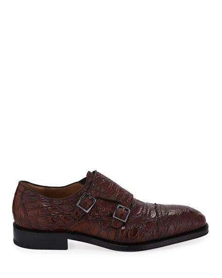 a2df805cc Salvatore Ferragamo Men s Tramezza Crocodile Double-Monk Shoe ...