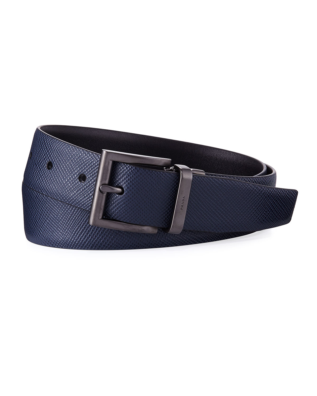 e6e589602f Saffiano Leather Belt, Blue/Black
