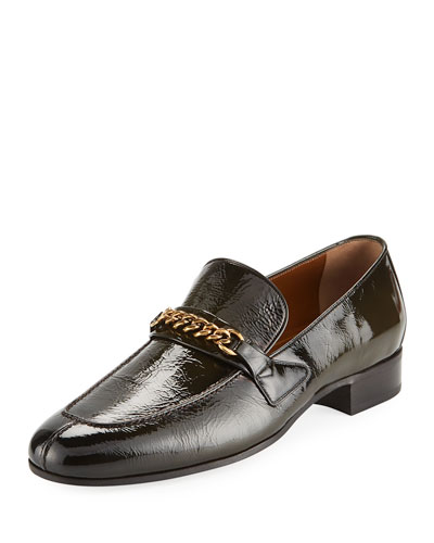 Patent Leather Curb-Chain Loafer