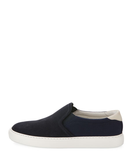 Men's Two-Tone Suede Slip-On Sneakers