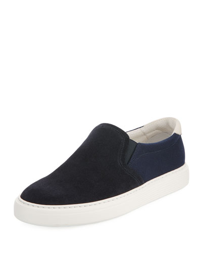 Two-Tone Suede Slip-On Sneaker