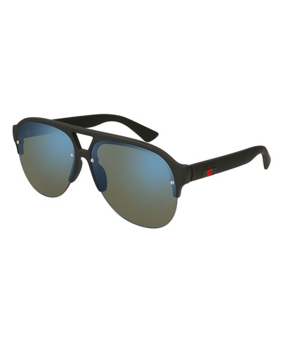 Half-Frame Rubber Mirrored Aviator Sunglasses