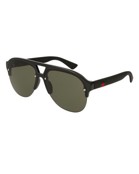 Gucci Half-Frame Rubber Aviator Sunglasses