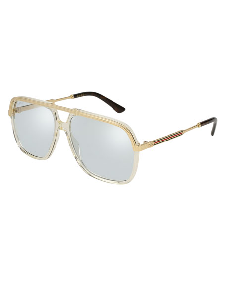 Gucci Metal/Plastic Aviator Sunglasses