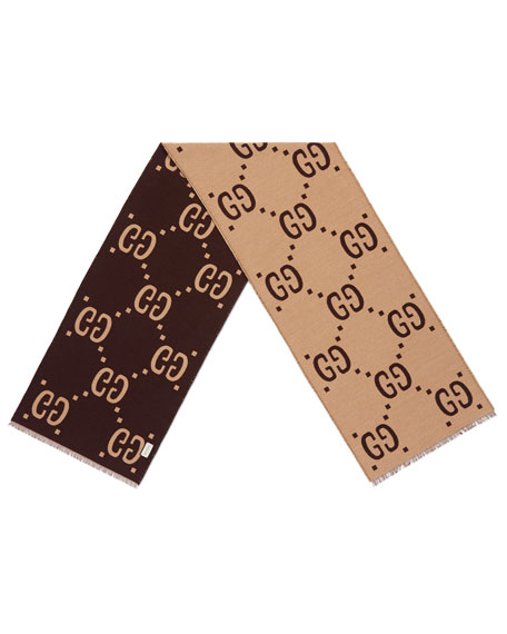 Gucci GG Freedom Jacquard Scarf, Brown