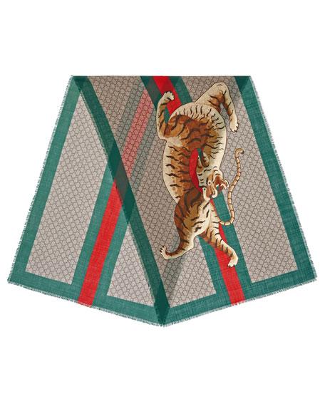 GG Web Tiger Wool Scarf
