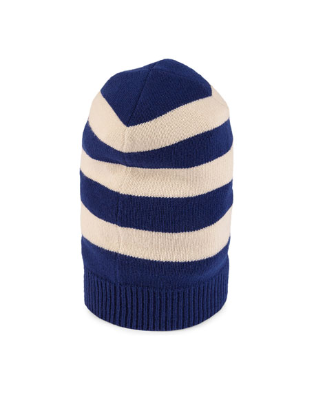 Striped Wool Hat with Tiger Applique