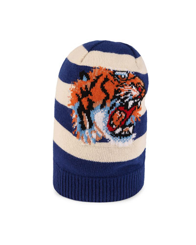 Striped Wool Hat with Tiger Appliqué