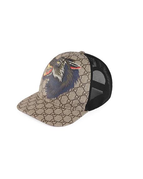Gucci Wolf GG Supreme Canvas Baseball Cap