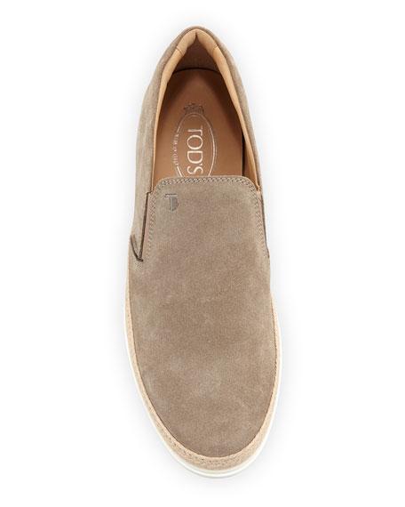 Suede Espadrille Slip-On Sneaker, Tan