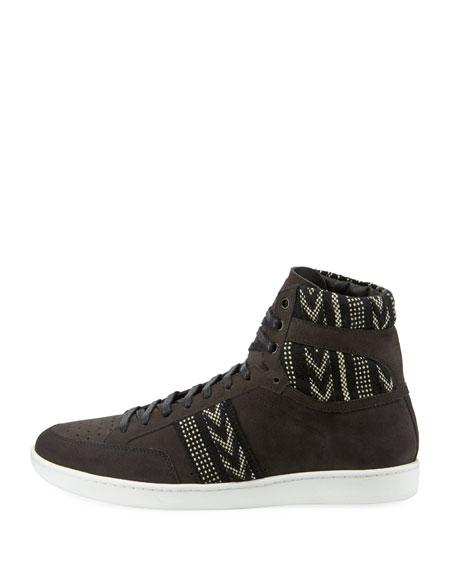 Men's Distressed Ikat Suede High-Top Platform Sneaker, Black/White