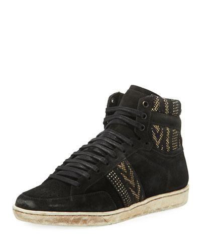 Ikat Suede High-Top Platform Sneaker, Black/White
