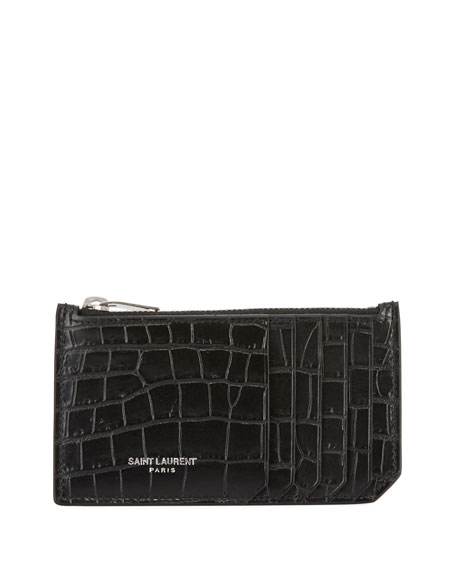 Saint Laurent Fragment Croc-Embossed Zip Card Case