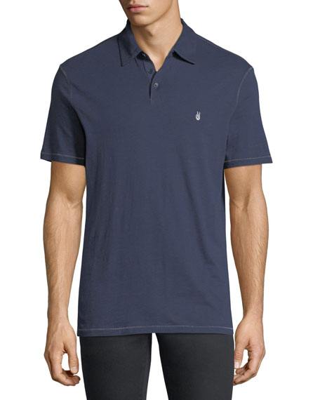 John Varvatos Star USA Soft Collar Peace Polo Shirt, Oiled Blue