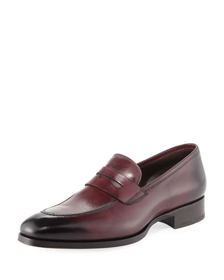 Leather Penny Loafer, Cherry